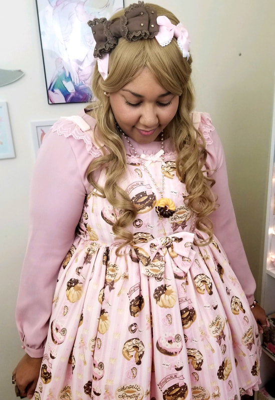 Melty Cream Doughnut, Angelic Pretty, Lolita Brand, Melty Cream Donut, Plus Size Lolita, bodyline, magicalgirlme, handmade, lolita print, cute fashion, alternative fashion, plus size alternative fashion