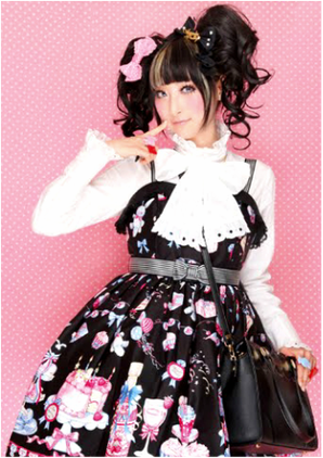 Rin Rin Doll, Rin, Doll, Lolita, Angelic Pretty, Lolita, Sweet, Bitter Sweet, kawaii, japanese fashion, j fashion, blouse, jsk, jumperskirt, wig, pigtail, pigtails, black hair, stripe, brand